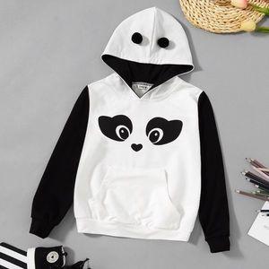 Girls Panda Black And White Hoodie